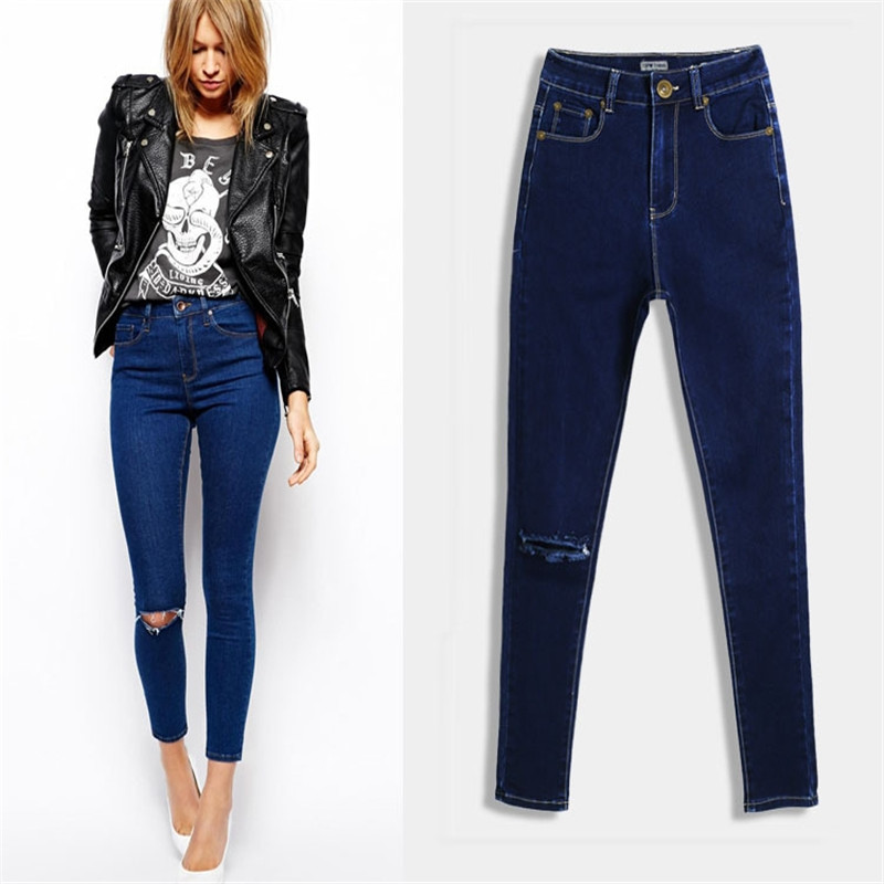 Women Fashion Design Hole Jeans Women Casual Slim Pants Ladies trousers large yards 2017 New Stretch