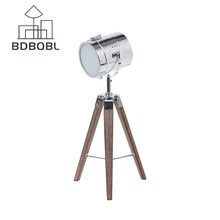 BDBQBL Nordic Wood Tripod Table Lamps Vintage Handmade Desk spot Light Searchlight Alumnum Metal Copper Bed Room Table Lamps(China)