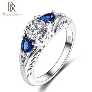 باجي Ringen الكلاسيكية 100% 925 فضة الياقوت الأحجار الكريمة الزفاف خواتم الخطبة للنساء غرامة مجوهرات هدية الجملة