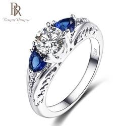 Bague Ringen Klasik 100% 925 Ayar Gümüş Safir Taş Düğün Nişan Yüzükleri Kadınlar için Güzel Takı Hediye Toptan