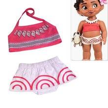 0236f3872c8e4 2018 Kids Girls Movie Moana Princess Costume Sets Toddler Baby Girl Moana  Children Cartoon Printing Swimwear Swimsuit Rose Red