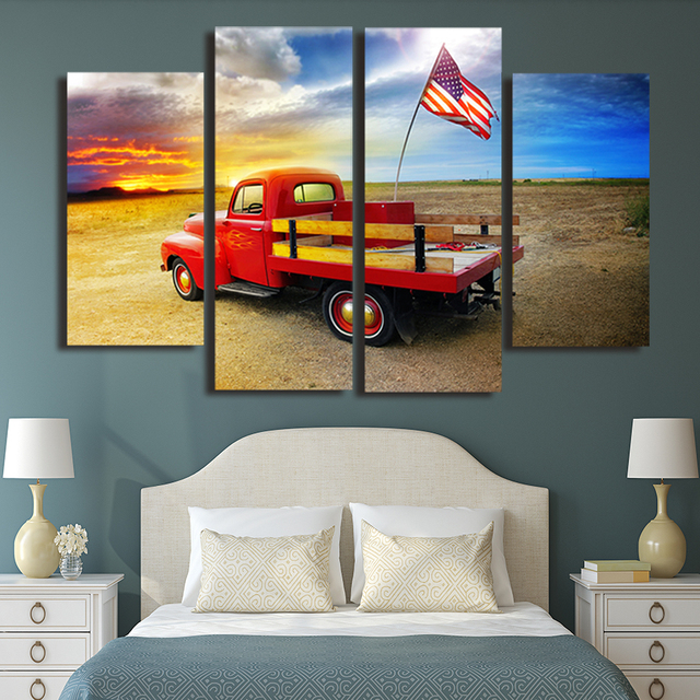Modern Frames For Paintings Decorative Canvas 4 Panel Red Car Art ...