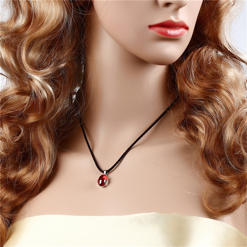 Women Vintage 925 Sterling  Red Garnet Pendant Necklaces Fine Jewelry Oval Natural Stone Necklace For Women Without Chain