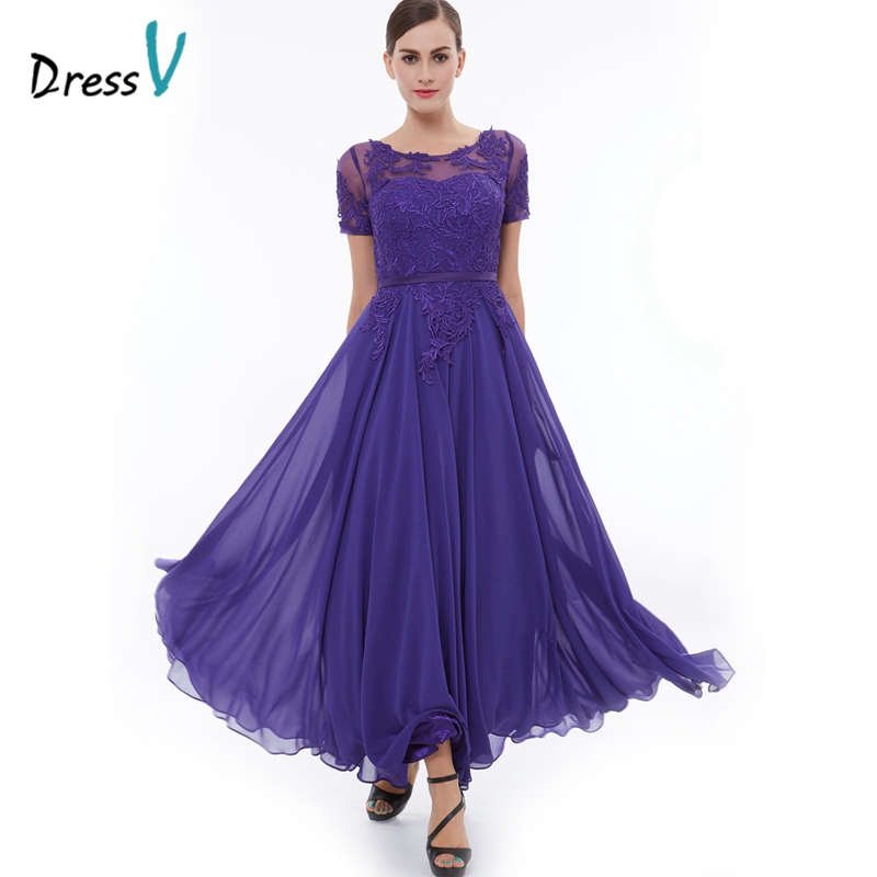 Dressv purple appliques long evening dress scoop neck A line short ...