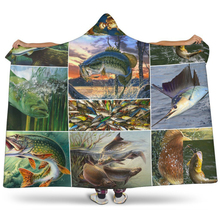 Fish Hooded Blanket For Home Travel Picnic 3D Printed Soft Sherpa Fleece Blanket Wearable Warm Throw Blanket For Adults Childs plaid magic hooded blanket for home travel picnic 3d printed sherpa fleece blanket wearable warm throw blanket for adults childs