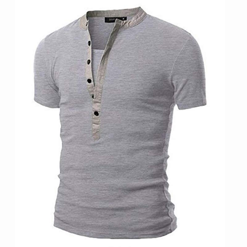 0dee7ee01351 New Arrival T shirt Men Tee Shirt Homme 2017 Summer Fashion V Neck Short  Sleeve Henley Shirt European Style Dark Gray Tshirt Xxl-in T-Shirts from  Men s ...