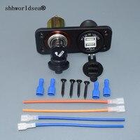 Shhworldsea 105*42mm Vente Chaude 12 V-24 V Double USB auto Allume-cigare Socket Splitter Adaptateur GPS Téléphone Chargeur
