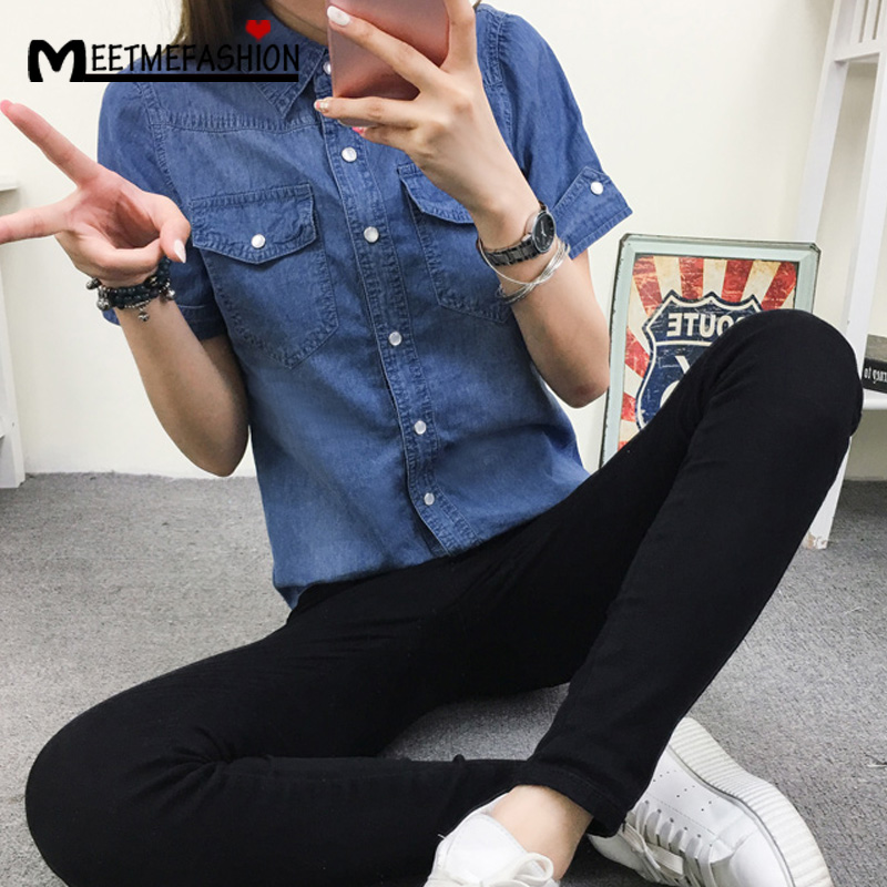 10fe4bdc217 MEETMEFASHION Fashion Plus Size 2XL Denim Shirt Women Short Sleeve Turn  Down Collar Blouse Jeans Female Cowboy Shirts Femme-in Blouses   Shirts  from Women s ...