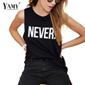 2017 summer fashion tank tops women NEVER letter print sleeveless black punk hip hop causal shirt tops plus size women clothing