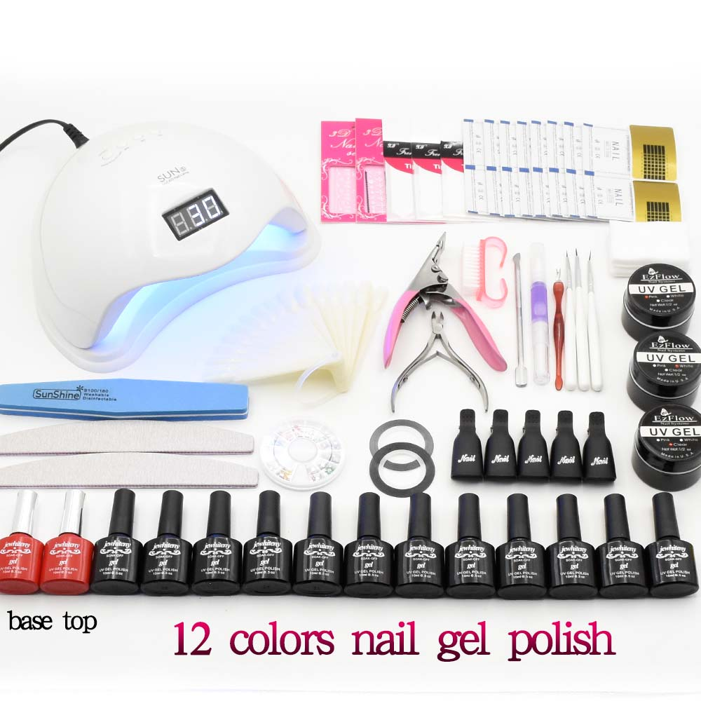 12pcs Nail Gel Polish Nail Set 36W/48W UV LED Lamp Dryer With Manicure Tools Gel Nail Polish Kit Nail Extension Set Art Tools full uv gel nail art nail polish 36w nail uv lamp dryer tools eu plug set