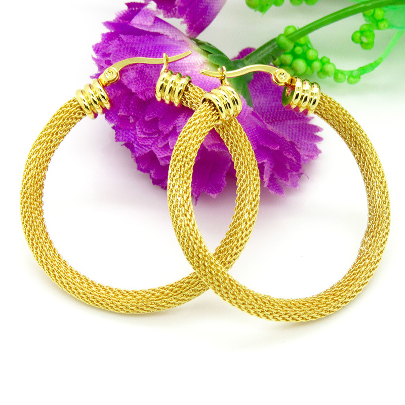 3 Size Gold Colour Women Gift Sale Fashion Jewelry Stainless Steel Mesh Wives Round Fancy Hoop Earrings