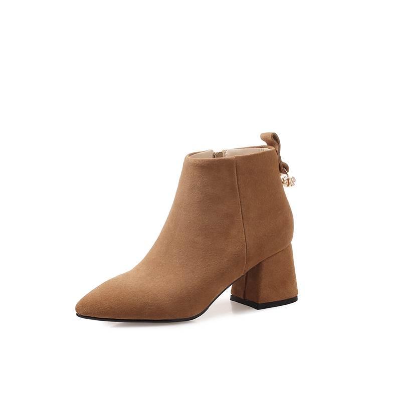 Platz Kuh Mode Frauen Leder schwarzes Nähen Spitz Wildleder 2018 Neue Brown light Stiefeletten High Herbst Gray Heels Stiefel Smirnova Rhinstone I7qvxAn
