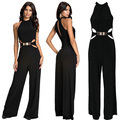 Rompers Women Jumpsuit Plus Size Chiffon Backless Casual Conjoined Long Pants Black Off Shoulder Sleeveless Slim PlaysuitsEZ326