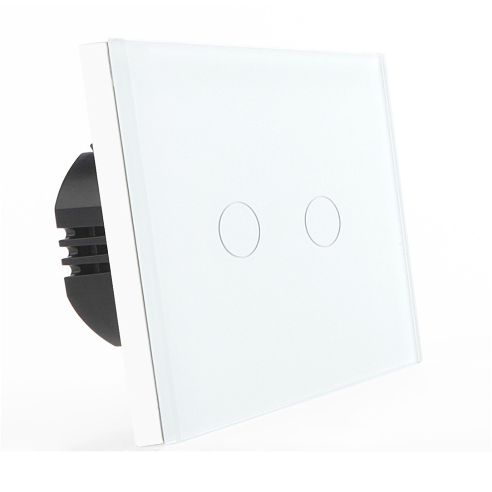 Bseed 240v Touch Switch 2 Gang 2 Way Light Touch Switch With Glass Panel White Wall Touch Switch Eu Uk Us Au smart home eu touch switch wireless remote control wall touch switch 3 gang 1 way white crystal glass panel waterproof power