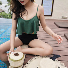 цены Flounced Bikini Women Sexy Army Green High Waist Bikini Set Push Up Swimsuit Female 2019 New Summer Lovely Texture Swimwear Girl