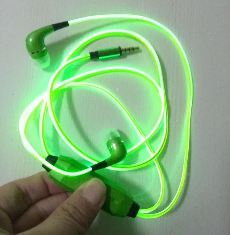 b1ea9a24a66 LED Earphone EL Luminous Eaphones Glow In the Dark Sport Stereo Headphones  LED lights Headsets for iphone/Samsung mobile-in Headphone/Headset from  Consumer ...