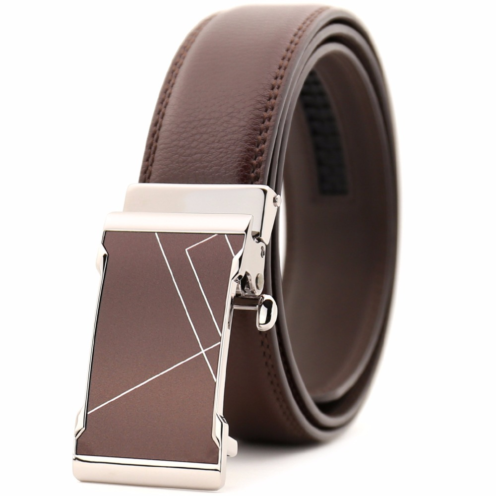 Smooth buckle new mens fashion leather belt