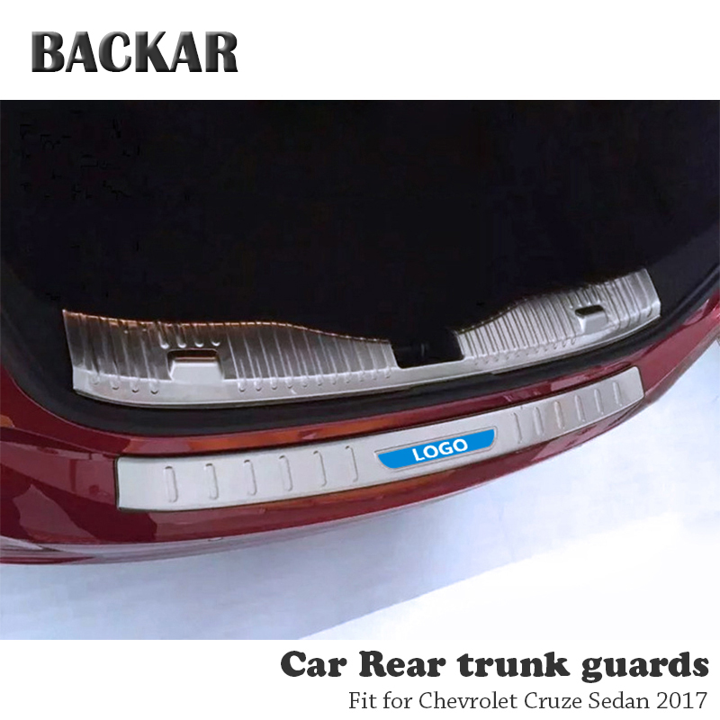 BACKAR 1pc Auto Car Rear Trunk Bumper Stickers For Chevrolet Cruze Sedan 2017 Accessories Trunk Door Trim Anti Collision