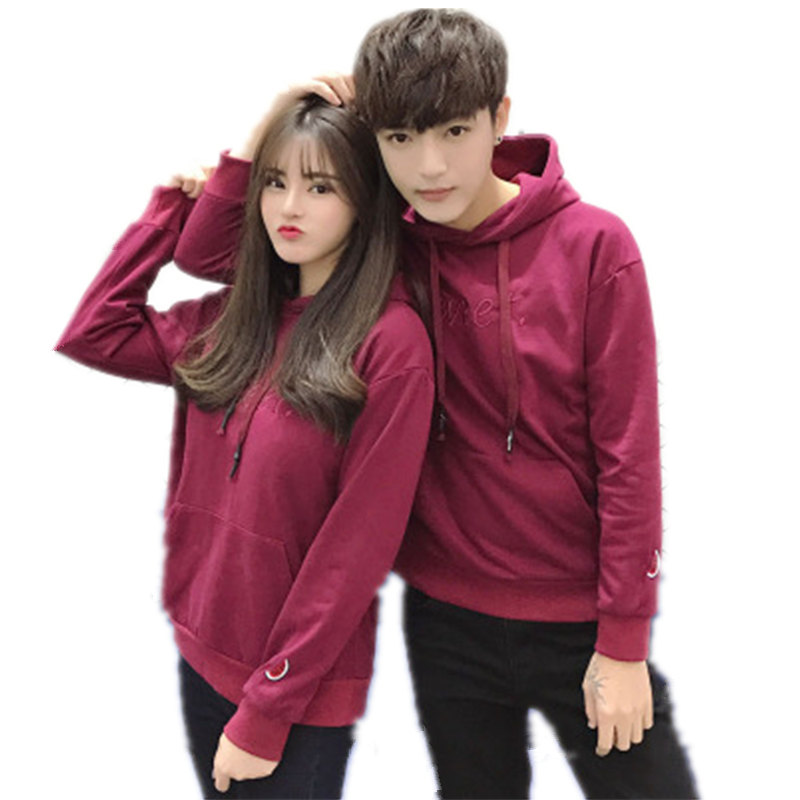 Pure Cotton Couples Hoodies Boys Girls Fashion Solid Color Mens Sweatshirt Fruit Embroidery Womens Hoody Sweatshirts Men Women