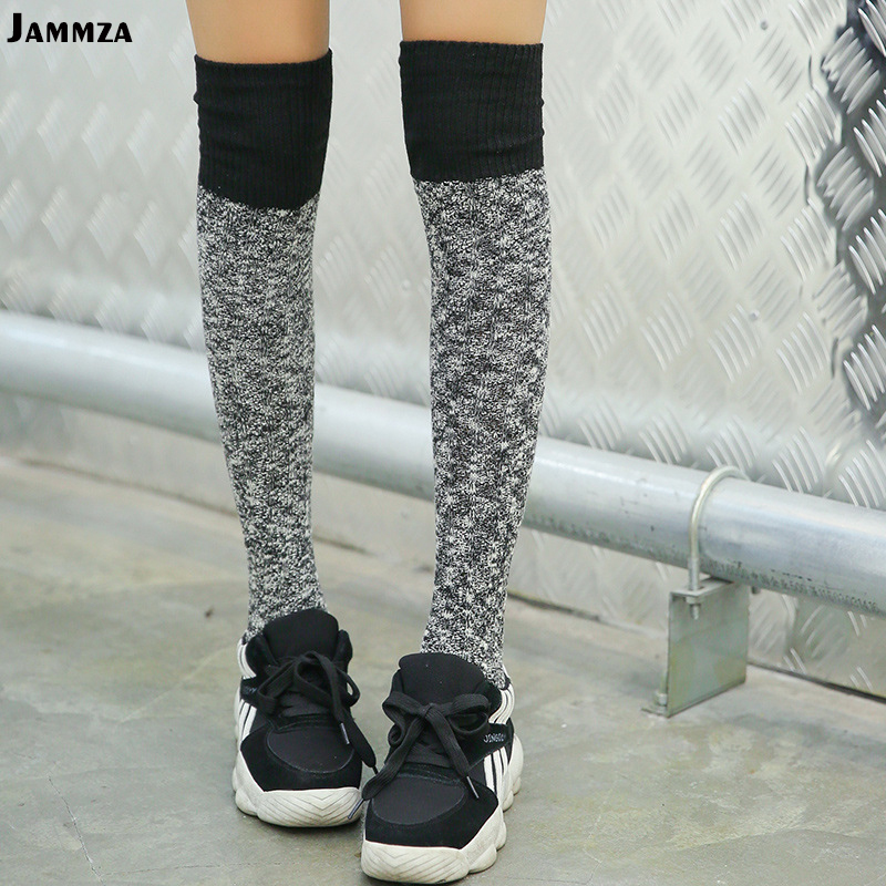 Women New Korea Thick Warm Socks Fashion Mosaic Wool Skirt Socks Knee Retro Japanese Wild Winter Harajuku Soft Pile Of Socks