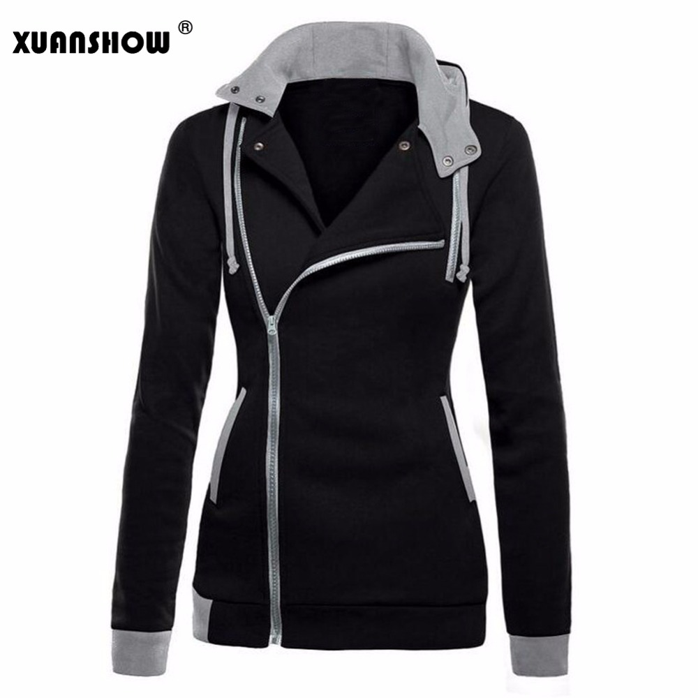 XUANSHOW New Fashion Winter Oblique Zipper Hoodies Fleece Hoody Sweatshirt New Cotton Hoodie Women Thick Keep Warm Clothing