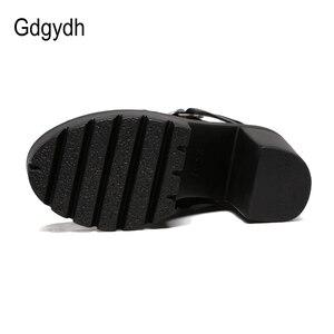 Image 4 - Gdgydhแฟชั่นสีดำรองเท้าผู้หญิงส้นฤดูใบไม้ผลิฤดูใบไม้ร่วงLace Up Softหนังรองเท้าผู้หญิงข้อเท้ารองเท้าบูทสูงรองเท้าส้นสูงPunk