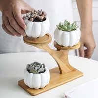 1 Set en céramique hibou jardin Pots moderne citrouille Pot de fleurs pépinière succulente plante Pot 3 bonsaï jardinières avec étagère en bambou à 3 niveaux