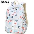 Xqxa triángulo impresión de la lona mochila mujeres casaul mochilas mochila escolar para adolescentes bolsa de ordenador portátil mochila feminia