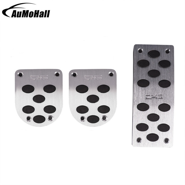 Manual Car Silver Pedals  Pads  Cover Auto Gas Brake Metal Pedal Non-Slip Pedals Cover