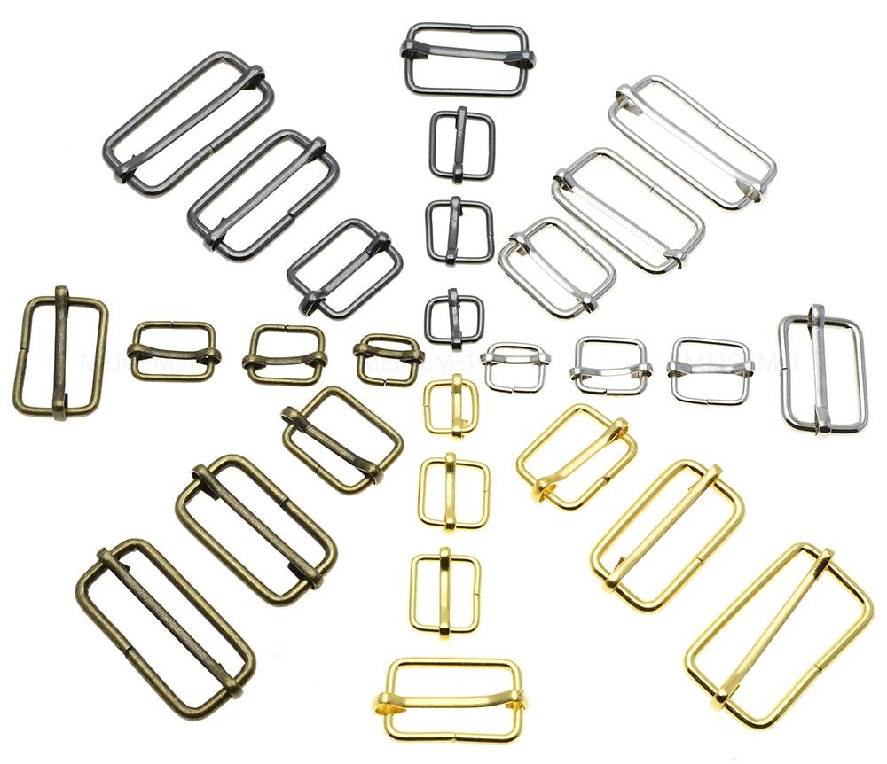 Metal Sliding Bar Tri-Glides Wire-Formed Roller Pin Buckles Slider 25mm Strap Adjuster Pack of 25