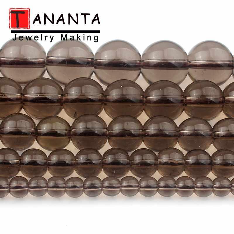 עגול מעושן Quartzs Loose קסמי זכוכית חרוזים להכנת תכשיטים רקמה DIY נשים צמיד שרשרת גודל 4 6 8 10 12mm 15 אינץ