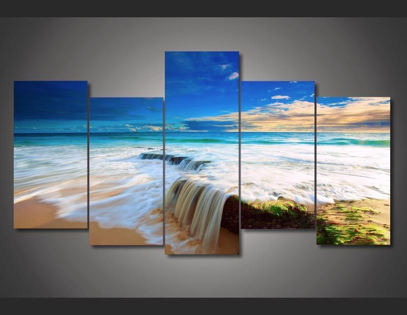 Art Abstract Indoor Decor Beach scenery tropical Print canvas in 5 pieces 20x35cmx2,20x45cmx2,20x55cm