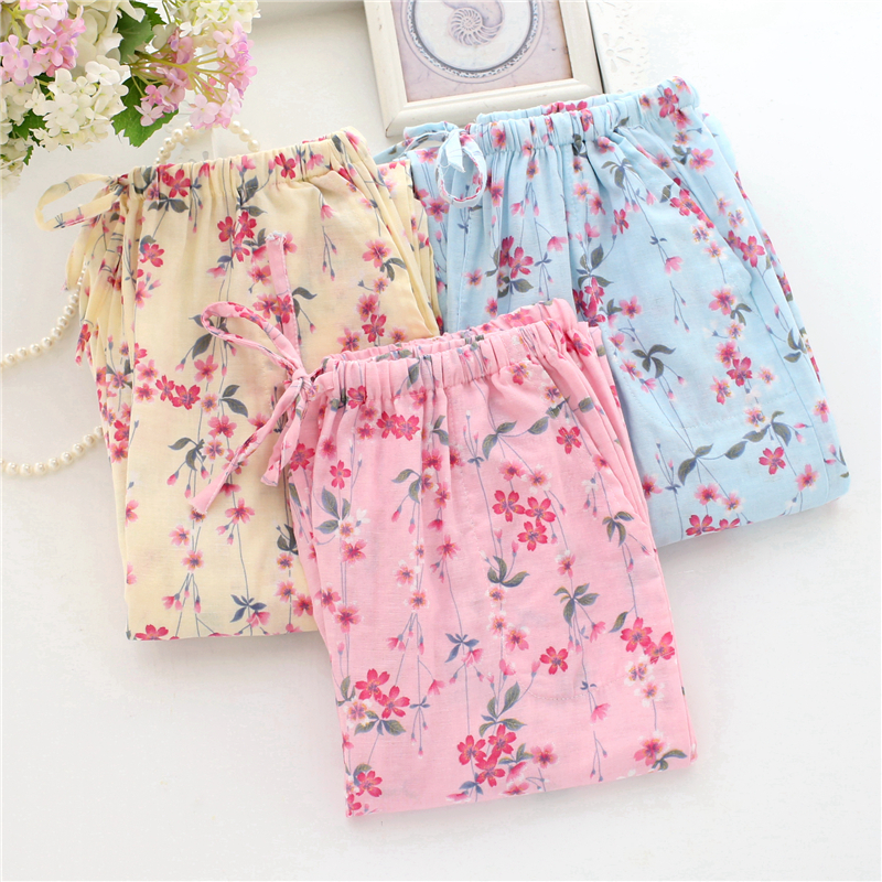 Fresh Floral Printed Cotton Sleep Pants Spring Summer Loose Home Pant Large Size Lounge Pants Pajama Bottoms Women