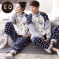 Sonbahar Ve Kış Termal Mercan Polar Severler Hırka Erkek Veya kadın Flanel Salonu Pijama Set