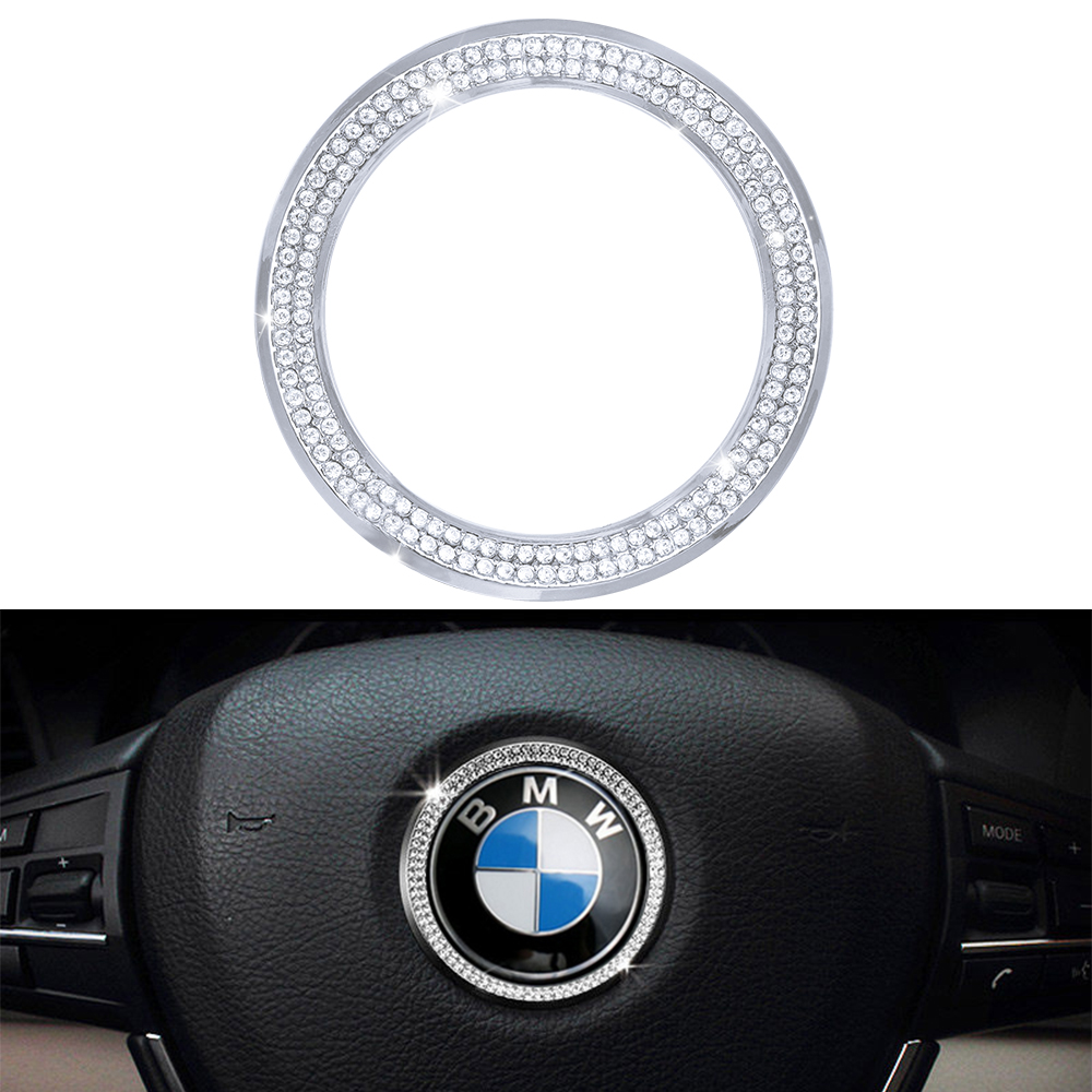 Accessories For BMW Steering Wheel LOGO Cap Covers Decal Stickers Bling Interior Visors Decorations 3 4 5 6 Series X3 X5 Crystal