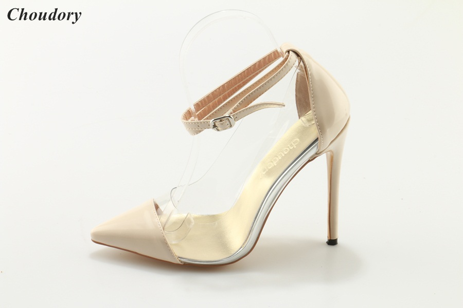 new fashion nude color patent leather pointed toe high heel buckle see  through woman high heel shoes a1f26f08aa0b