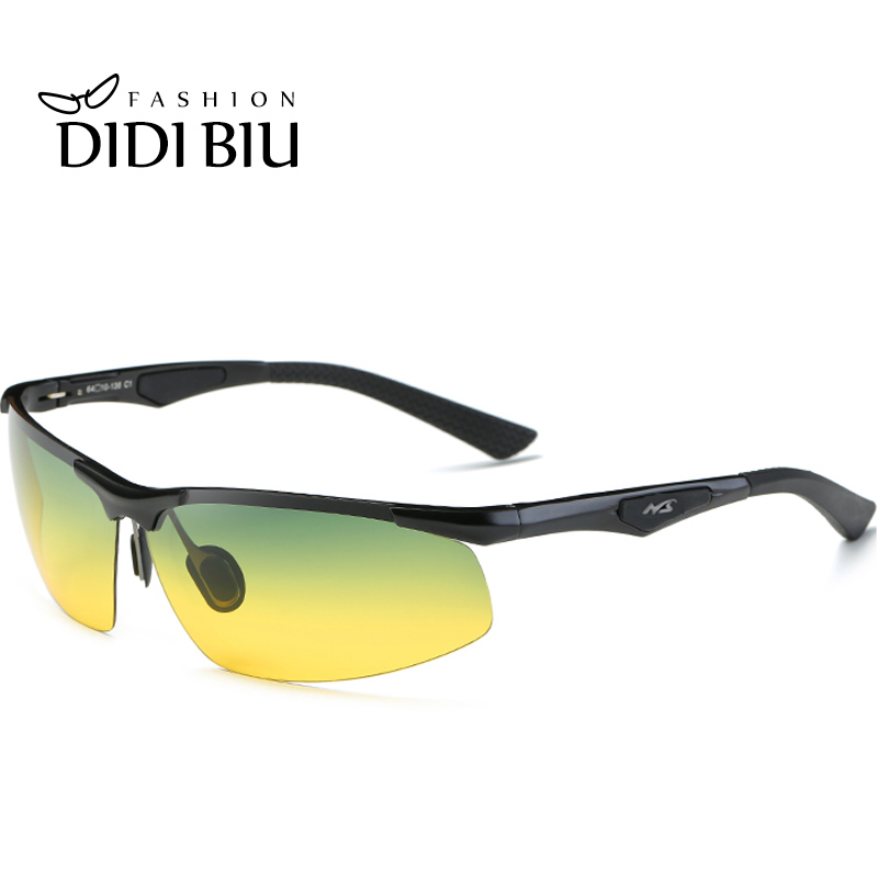 d8ae57778fe Detail Feedback Questions about Polarized Day Night Sunglasses Men Aluminium  Green Yellow Glasses Car Driving Anti Glare Military Tactical Goggles Point  ...