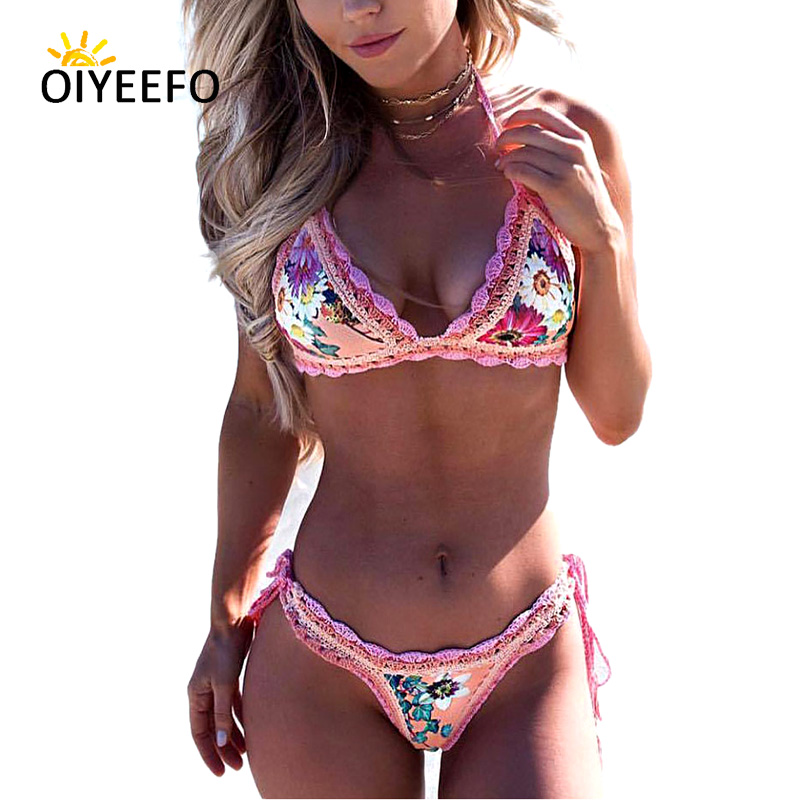 Oiyeefo Knitted Crochet Bikini Set Floral String Brazilian Biquine Halter Swimwear Female Bathers Bathing Suits Women Beach May