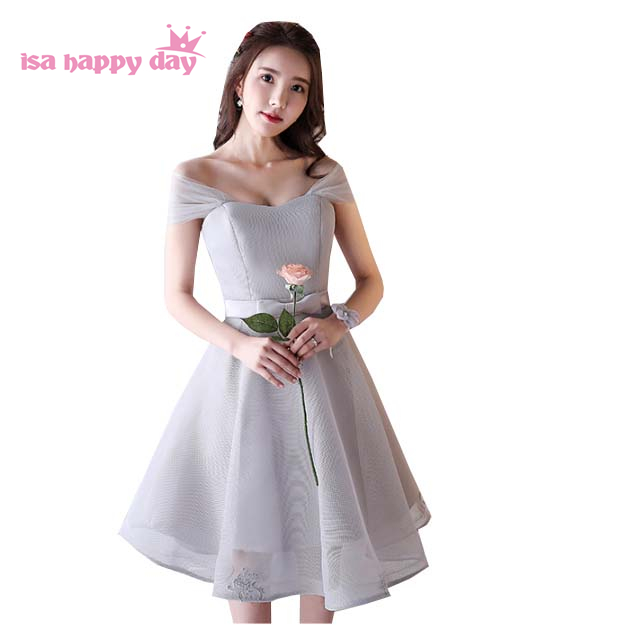 short off the shoulder sexy gray robe birthday prom dress gowns china special occasion ball dresses under $50 summer H4062