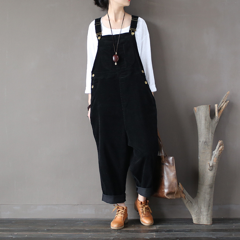 Women Autumn Winter Cotton Corduroy Vintage Rompers Jumpsuits Retro Solid Color Loose Overalls Ladies Washed Pants