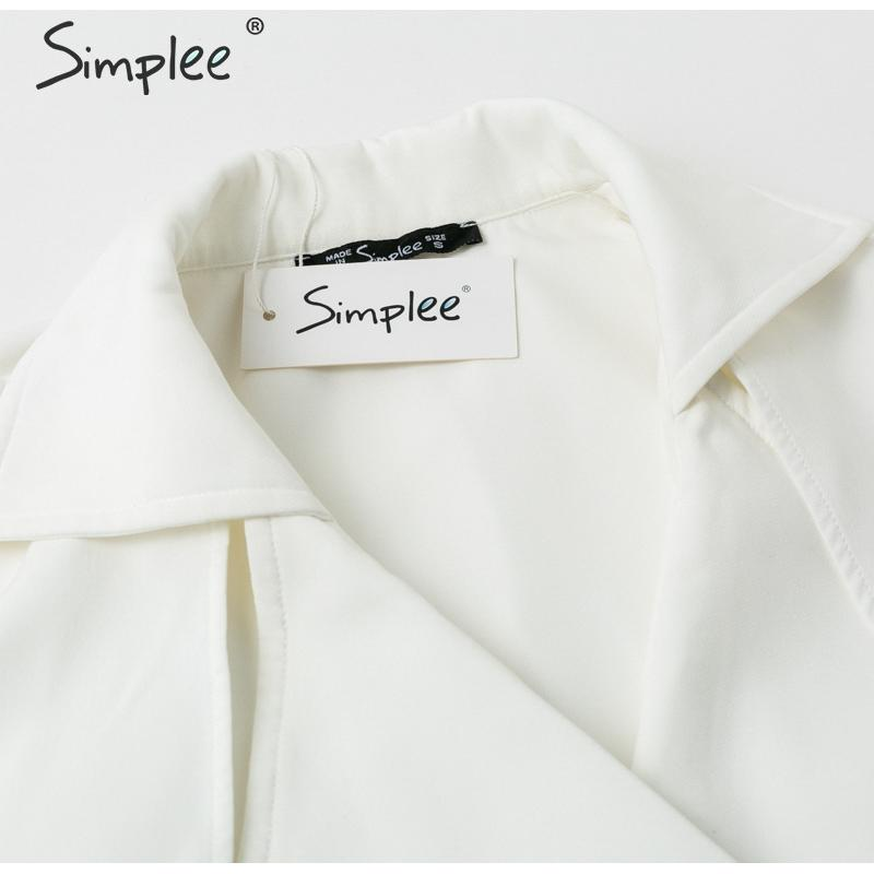 Simplee Solid ruffled sleeve women blazer dress Elegant sash belt office ladies trench dress V-neck shawl party dress vestidos 15