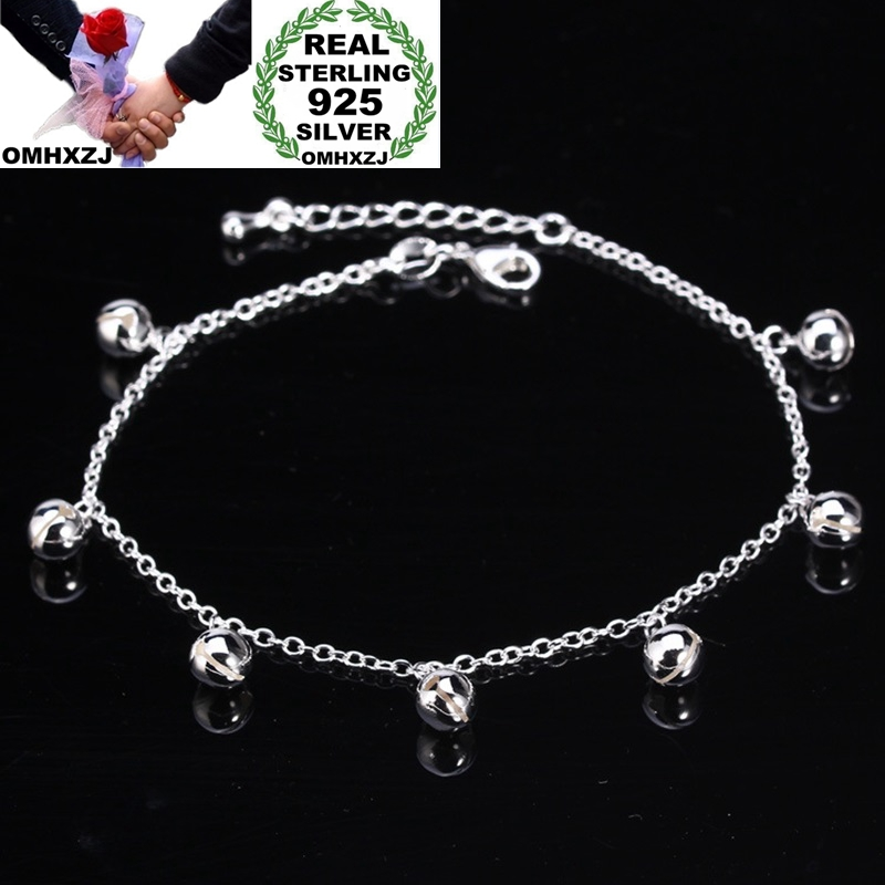 OMHXZJ Wholesale European Fashion Woman Girl Party Birthday Wedding Gift Lucky Cute Ring Bell 925 Sterling Silver Anklet JA05