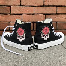 Wen Original Skull Red Rose Designs Canvas Women Shoes Sneakers High Top Black White Men Athletic Shoes for Outdoor Recreation brooks men s ravenna 6 shoes white high risk red black 12 d