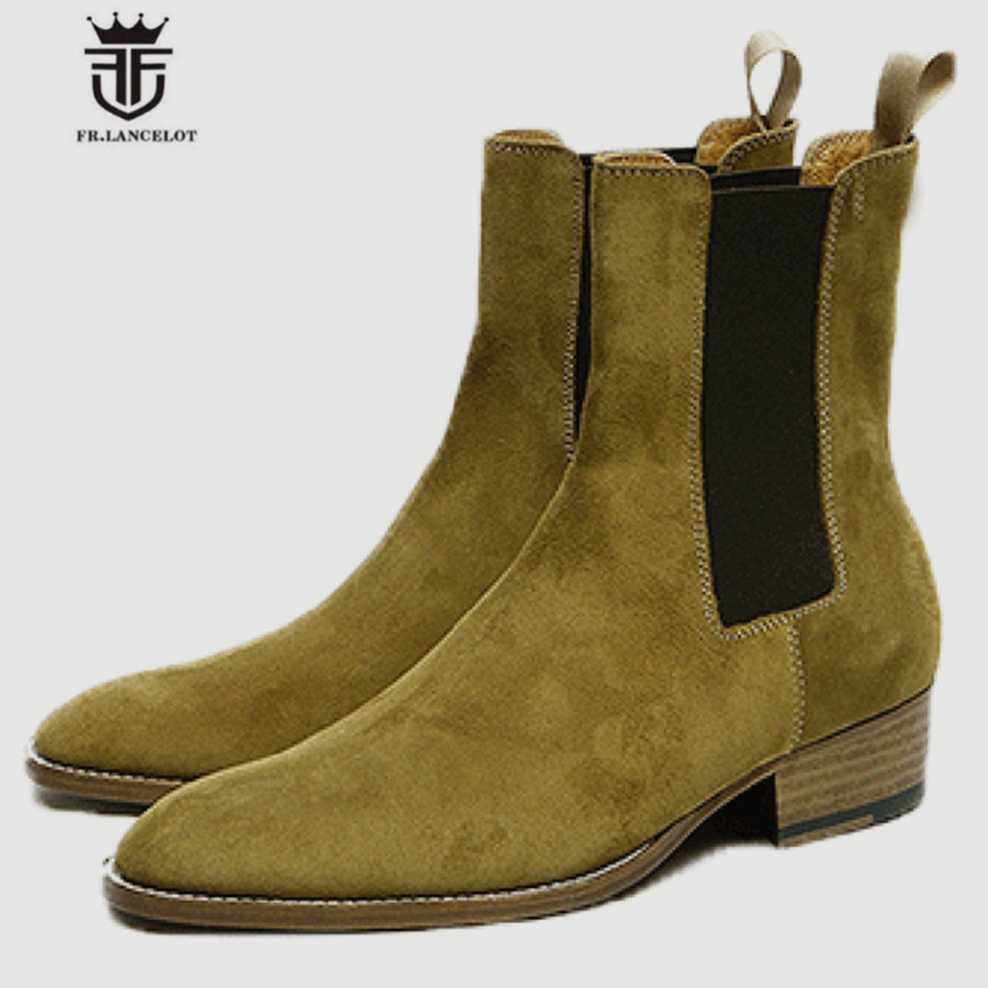 Factory High End Personalized Handmade Slip On Cow Suede Men Chelsea Boots New Leisure Luxury Wedge Boots high end handmade customized high top luxury demin boots men genuine leather personalized suede folds chelsea boots