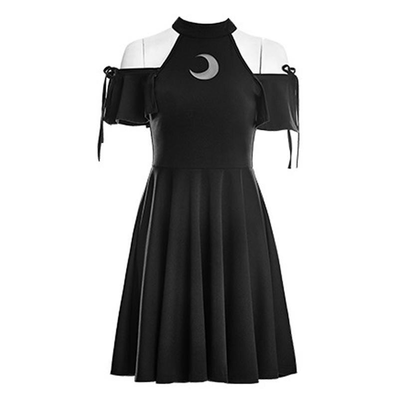 Новинка 2018 года для женщин панк Луна узор платье черный цвет Готический обувь для девочек выдалбливают сетки Moon платья женщин высокая Талия...