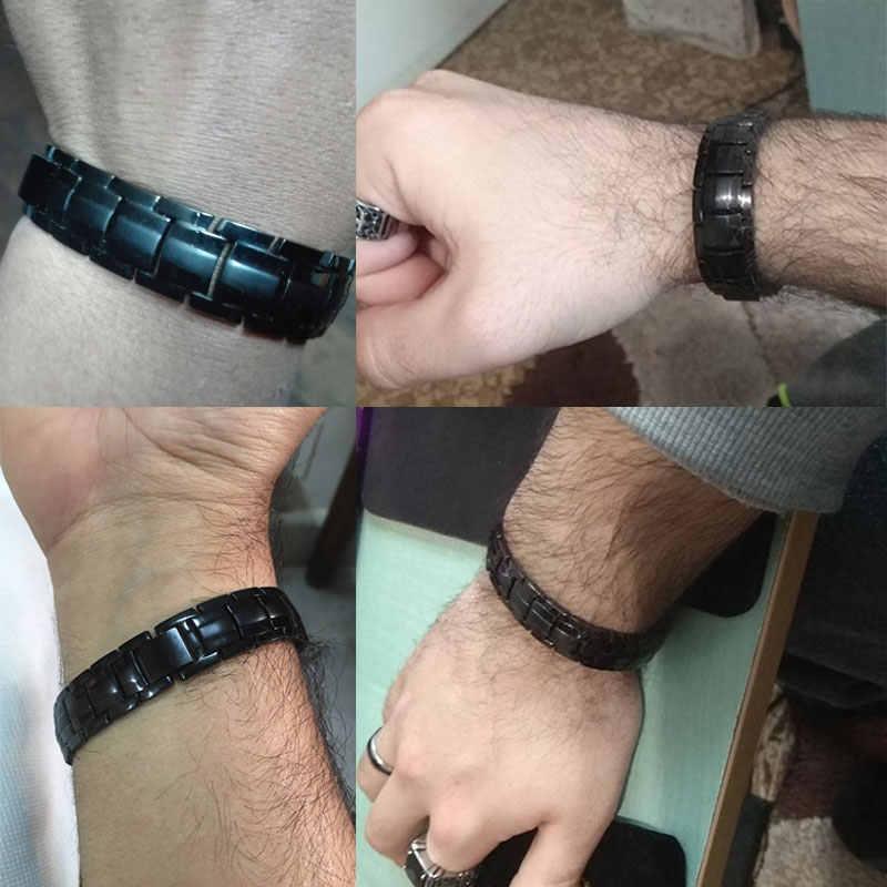 Pulsera magnética negra de titanio puro para hombre de Escalus, imanes 4 en 1 de iones negativos, joyería de Pulseras de Salud de germanio