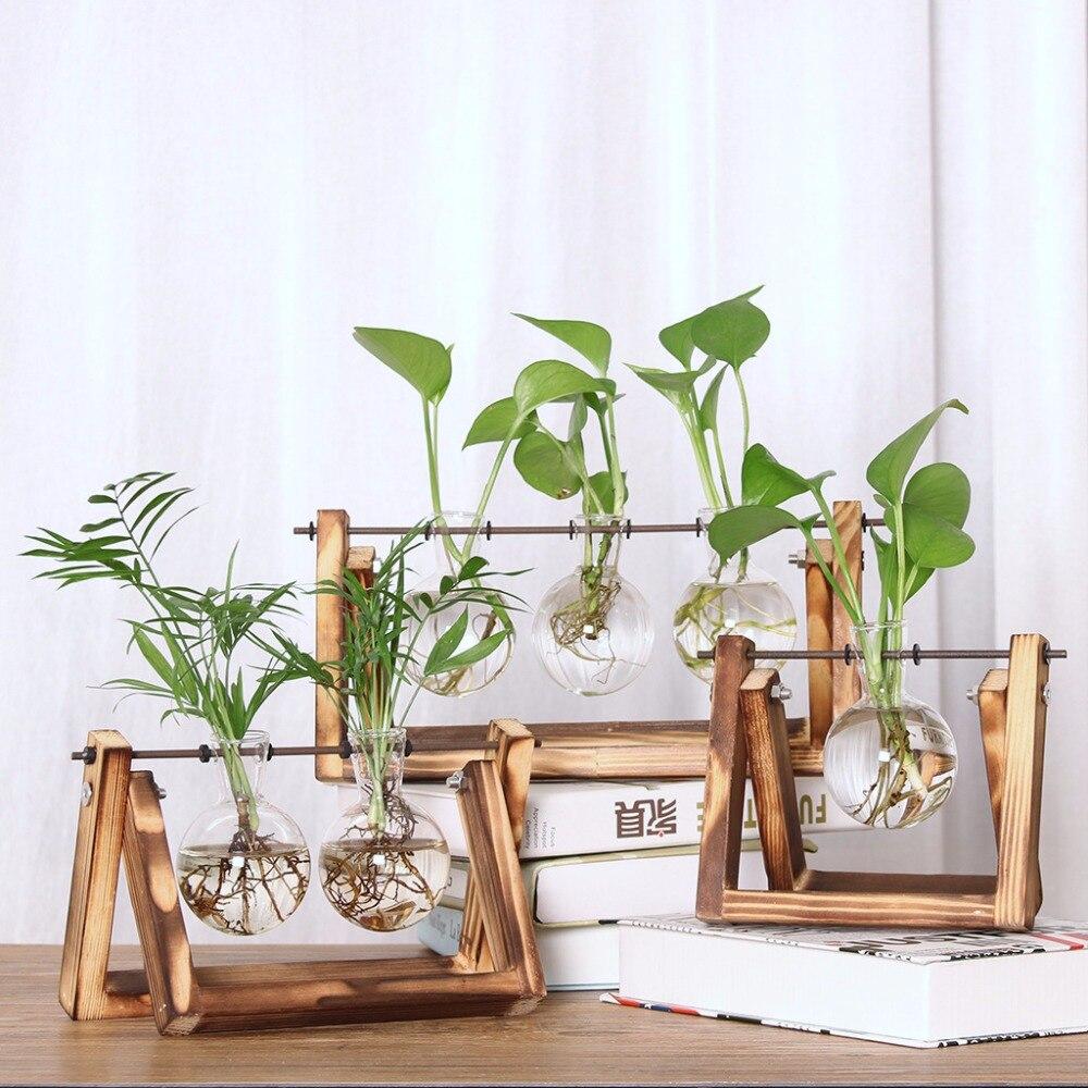 Desktop Decoration Glass Planter Bulb Vase Retro Solid Wooden Stand Metal Swivel Holder For Hydroponics Plants Home Garden Decor