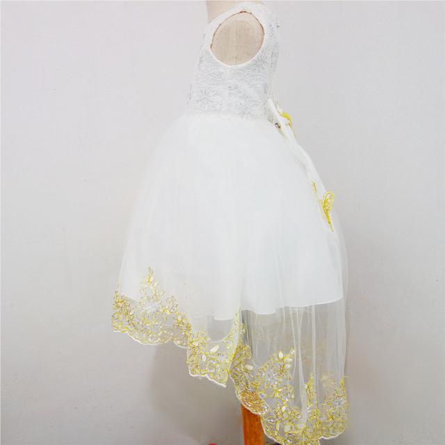 Vestido de Traje Del funcionamiento de la Muchacha Del Cordón Del Arco Vestido de Novia de Cola