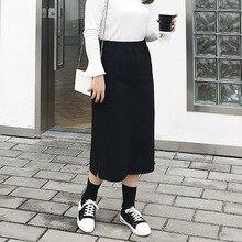 Nueva moda de la falda tamaño 2018 nuevo otoño y el invierno de las mujeres  coreanas con terciopelo tubo hendidura falda 785 f22450fa9fa3