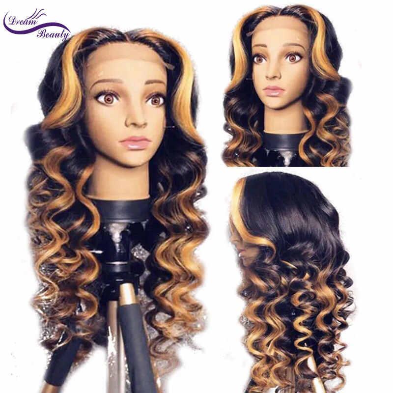 Мечта Красота подчеркивает цвет вьющиеся Реми бразильские полная кружева перед человеческих волос парики предварительно сорвал натуральный парики из волос